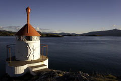 Little lighthouse in Norway. Panoramic view close to Sommaroy in North-West Norway, above the Arctic Circle Royalty Free Stock Photos