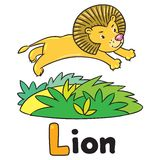 Little lion for ABC. Alphabet L. Children  illustration of little funny lion jumping out of the jungle. Alphabet L Stock Images