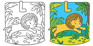 Little lion coloring book. Alphabet L. Coloring picture or coloring book of little funny lion jumping out of the jungle. Alphabet L Stock Image