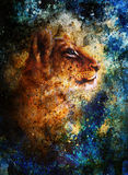 Little lion cub head. animal painting, blue color Royalty Free Stock Photo