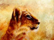 Little lion cub head. animal painting on vintage Stock Image