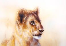 Little lion cub head. animal painting on vintage Royalty Free Stock Image