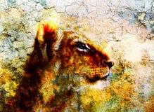 Little lion cub head. animal painting on vintage Stock Photo