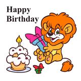 Little Lion Happy Birthday cake cartoon illustration vector illustration
