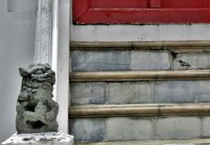 Little lion sculpture guarding entrance stair Stock Image