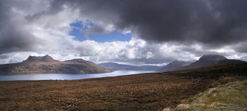 Little loch broom. Panorama of Little Loch Broom in northern Scotland royalty free stock photo