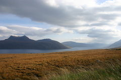 Little Loch Broom. Looking north over Little Loch Broom to Beinn Ghobhlach Stock Photography
