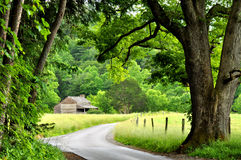 A little log cabin in the crook of the road. Stock Photo