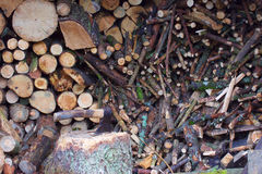 Little logs wood background and axe Stock Photography