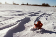 Little lonely red man stay on snow Royalty Free Stock Photos