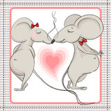 Little love mouse kissing Royalty Free Stock Image