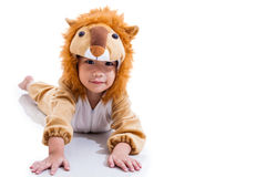 Little lovely asian boy costumed like a lion. Isolated on white Royalty Free Stock Photos