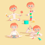Little lovely baby boy playing with toys. Kid builds house from cubes.  draws pencils.  plays a pad.  eats sweets Colorful vector. Little lovely baby boy playing Stock Photo