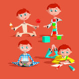 Little lovely baby boy playing with toys. Kid builds house from cubes. draws pencils. plays a pad. eats sweets Colorful vector ill. Little lovely baby boy Royalty Free Stock Images