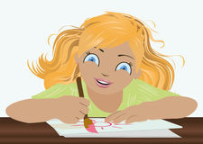 Little  lovely girl drawing sun Stock Image