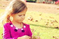 Little lovely girl playing on the grass in the park. filtered image Royalty Free Stock Image