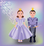 Little magic princess and prince Stock Images