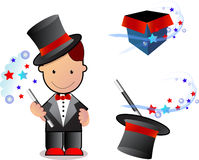 Little magician. Showing his magical skill , standing with his tools of trade Royalty Free Stock Image