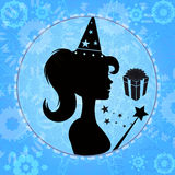 Little Magician. An illustration of a little girl holding a magic wand Royalty Free Stock Image