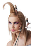 Little make up artist at work Royalty Free Stock Photo
