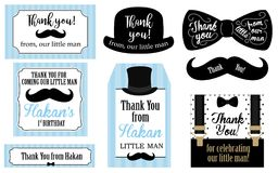 Little man birthday party Baby shower party tags. Thank you favor card. Vector bow tie and suspenders. Black, blue, white - classic pattern. Set of design label Royalty Free Stock Photos
