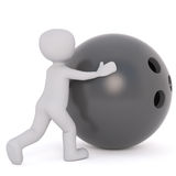 Little man with bowling ball. Faceless grey cartoon man rolling forward huge black bowling ball, 3D render isolated on white background Stock Photos