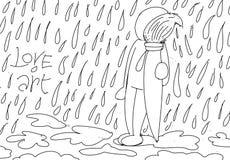 Little man love art stylized comic book style humorist drawings. Stylized comic book style humorist drawings vector illustration