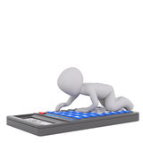 Little man making calculations concept. Grey faceless cartoon 3D man using calculator on all fours, render isolated on white Royalty Free Stock Images