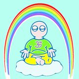 Little man in meditation (color version). Illustration of little man on a cloud in meditation Royalty Free Stock Images