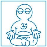 Little man in meditation Stock Images