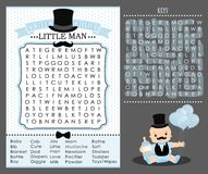 Little man party game first birthday, baby shower Word search puzzle. Cute blue and white vintage. Templates can used for invitation card, photo frame Stock Photography