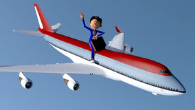 The little man and the plane Stock Photography