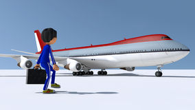 The little man and the plane Stock Photos