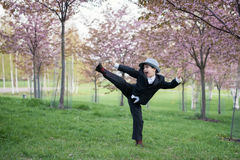 A little man is playing Ninja Royalty Free Stock Image