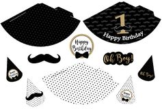Little man printable hats. Black, white, golden mustache pattern. Print and cut. Vector cones template to head for a party birthday, baby shower, it is a boy Royalty Free Stock Photography