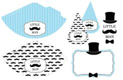 Little Man`s Printable Hats. Black And White Mustache Pattern. Print And Cut. Stock Image