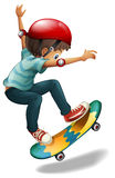 A little man skateboarding Royalty Free Stock Image