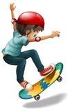 A little man skateboarding. Illustration of a little man skateboarding on a white background Royalty Free Stock Image