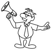 Little man speaking in a megaphone Royalty Free Stock Image