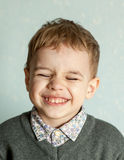 Little man is suprised and so happy about it. Stock Photo