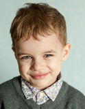 Little man is suprised and so happy about it. Closeup headshot. emotion card Stock Images