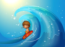A little man surfing Stock Images