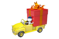Little man transports a gift by the lorry Royalty Free Stock Images
