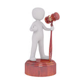 Little man with wooden gavel Stock Images