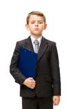 Little manager with folder Stock Photos