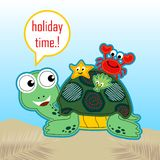 Funny turtle with little friends. Little marine animals ride on turtles back. Vector cartoon illustration, no mesh, vector on eps 10 stock illustration