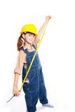 LIttle master girl with ruler Royalty Free Stock Photos