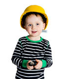 Little mechanic boy. Happy smiling 2-3 years old boy in yellow helmet playing with pliers - isolated on white background Royalty Free Stock Photography