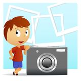 Little men with big camera and photo background Stock Photography