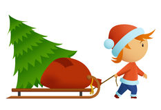 Little men in christmas nat carry tree and bag wit. Vector illustration of little men in christmas hat carry tree and bag with gift on the sledge. Gradient mesh stock illustration